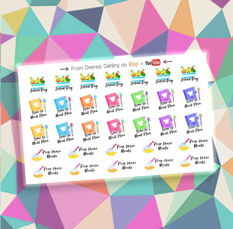 Meal Plan Prep Sticker Set for Planner and Calendar  Happy image 0