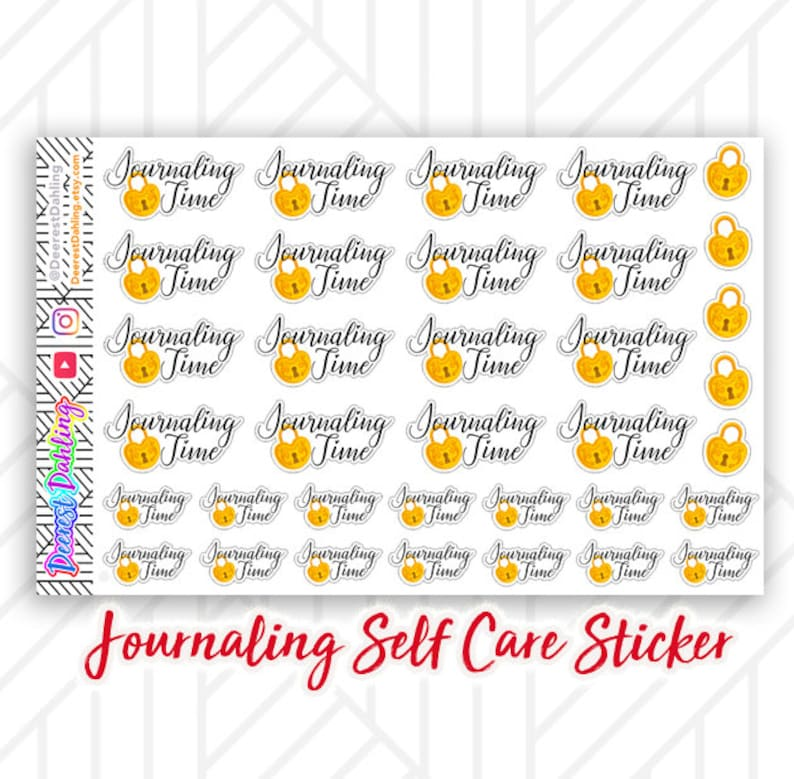 Journaling Self Care Sticker Set for Happy Planner and Life image 0