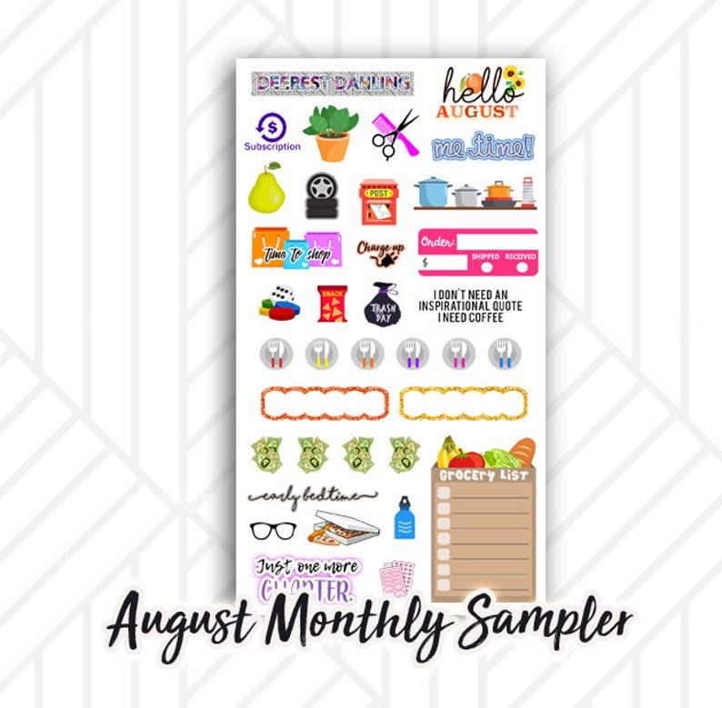 August Monthly Planner Sticker Sheet  Glasses pizza night image 0