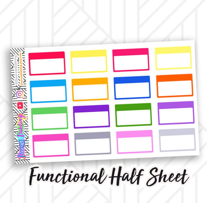 Half box Header Sticker for Happy Planner and Life Planner  image 0