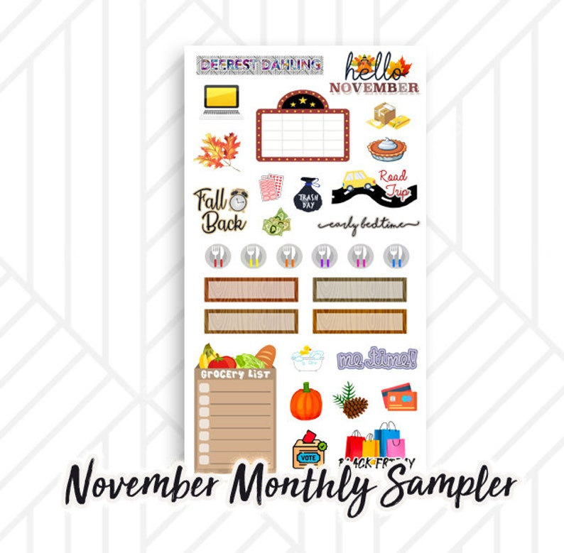 Fall Sticker for November Monthly Happy Planner and Life image 0