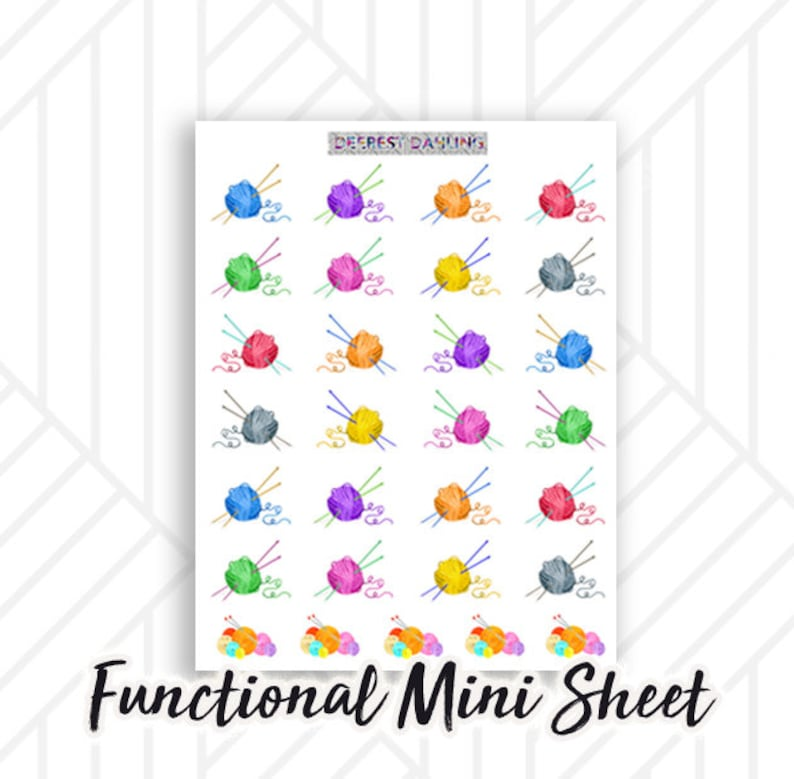 Knitting Yarn Ball Stickers in Rainbow for Happy Planner and image 0