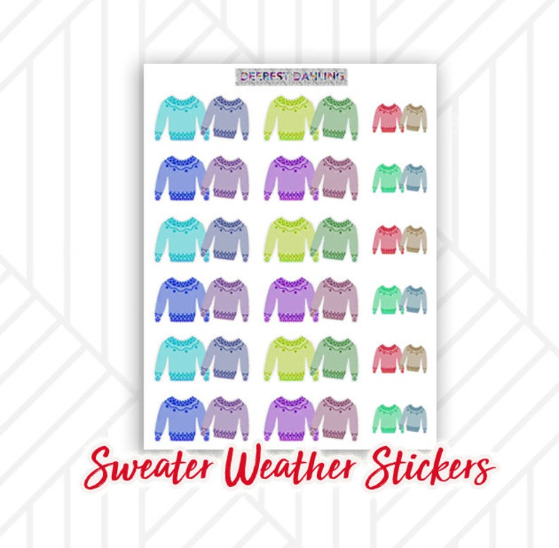 Fall Sweater Weather Stickers for Happy Planner and Life image 0