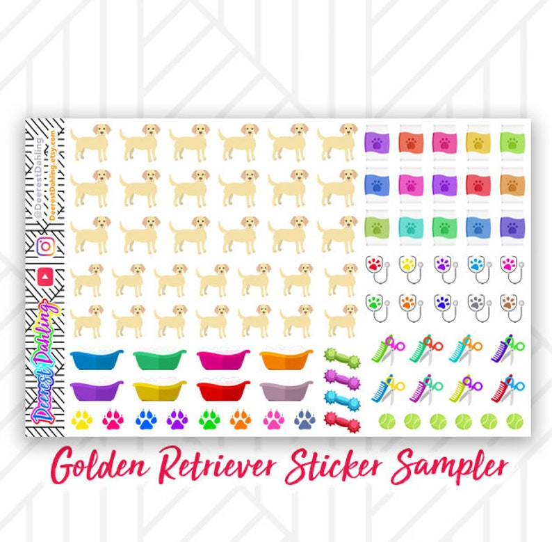 Golden Retriever Dog Sticker fits Happy Planner and Life image 0