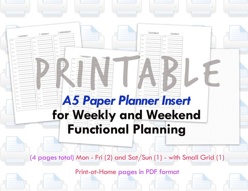 PRINTABLE A5 Wo4P  Weekly and Weekend Planner Set up  image 0