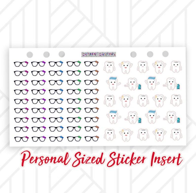 Glasses and Dentist Sticker Sheet Insert for Filofax Personal image 0