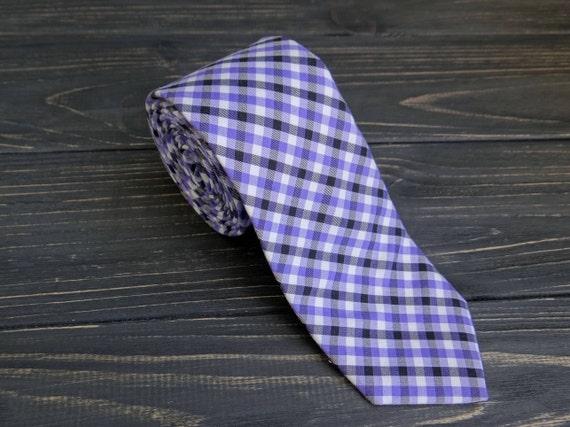 Hugo Boss Italian Silk Tie Gray Checkered plaid Skinny Tie Hugo Boss LOT