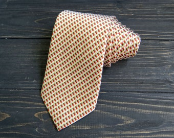 Pure Silk Geometric Print Tie fathers day gift vintage mens tie Yellow Beige cravate casual pattern necktie Checkered tie gift for husband