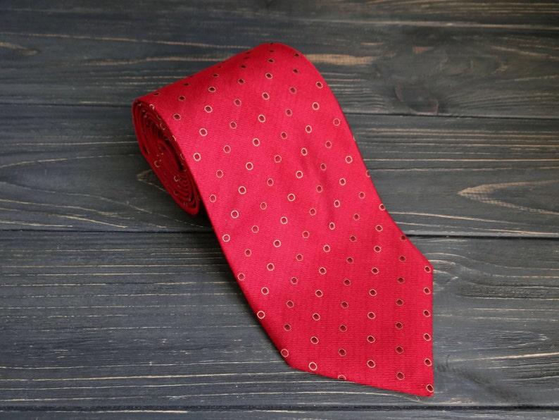 79bc5da859ed Pure Silk Tie Burgundy red cravate polka dot pattern fathers | Etsy