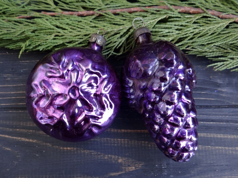 Purple Pine Cone And Snowflake Set Of 2 Christmas Glass Etsy