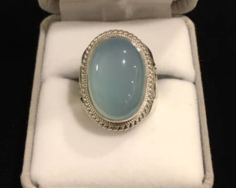 Fine Silver & Blue Chalcedony Ring