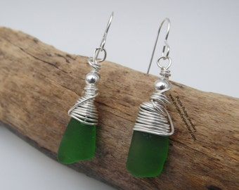 Cornish Sea Glass Dangle Drop Earrings ~ Bright Green  ~ Sterling Silver ~ Cornwall