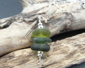 Cornish Sea Glass Stack Necklace ~ Deep Greens ~ Sterling Silver ~ Cornwall