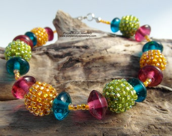 Rainbow Bright Bracelet ~ Sterling Silver ~ Hand Woven Beads