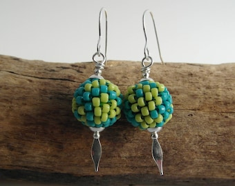 Woven Bead Spear Earrings ~ Lime & Turquoise ~ Sterling Silver ~ Cornwall
