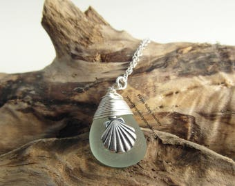 Seafoam Mermaids Tear Necklace with Sea Shell Charm ~ Sterling Silver ~ Cornwall ~ Cornish