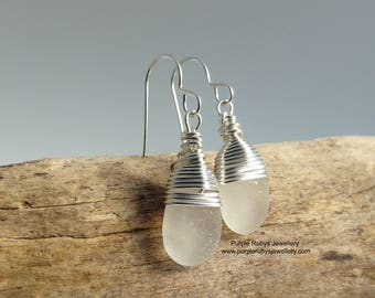 Cornish Sea Glass Earrings ~ White ~ Sterling Silver ~ Cornwall