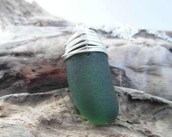Dark Green Cornish Sea Glass Necklace ~ Cornwall ~ Sterling Silver