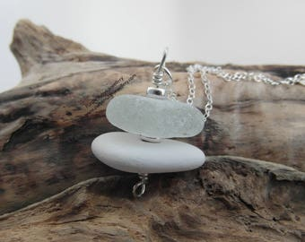 Cornish Sea Glass and Sea Pottery Stack Necklace  ~ Sterling Silver ~ Cornwall