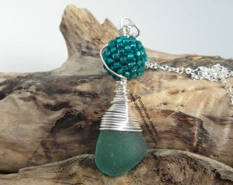 Teal Cornish Mermaids Tear and Handwoven Bead Necklace ~ Sterling Silver ~ Cornish