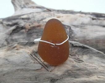 Cornish Sea Glass Ring - Amber ~ Cornwall ~ Sterling Silver