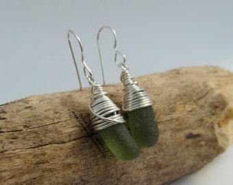 Deep Olive Marmaids Tears Earrings ~ Sterling Silver ~ Cornwall
