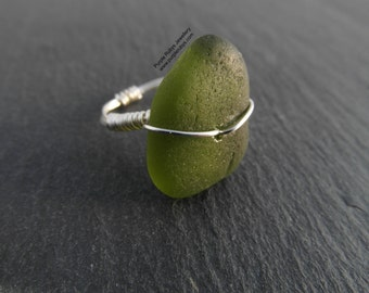 Olive Green Cornish Sea Glass Ring ~ Sterling Silver ~ Cornwall