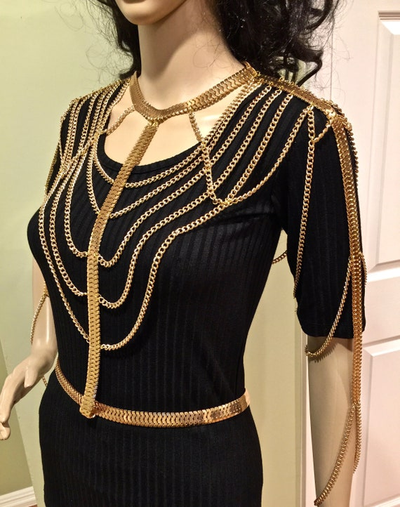 Shoulders Body Chain Gold Metal Two Sides Top Fashion Jewelry Bib Necklace