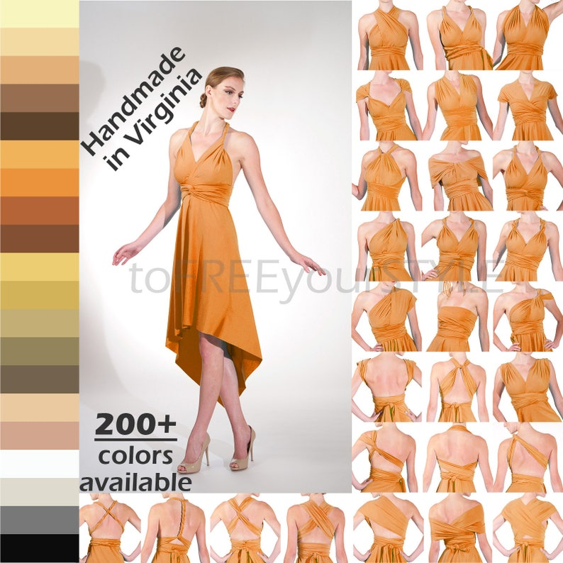 multiway dress wrap bridesmaid dress POINTED High-Low Convertible Dress 200+ colors Any Size /& Length infinity bridesmaid dresses