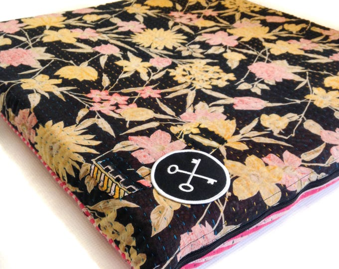 Vintage Recycled Sari Dog / Pet Bed - Flower - Square - Small - Handmade by those at risk or affected by human trafficking