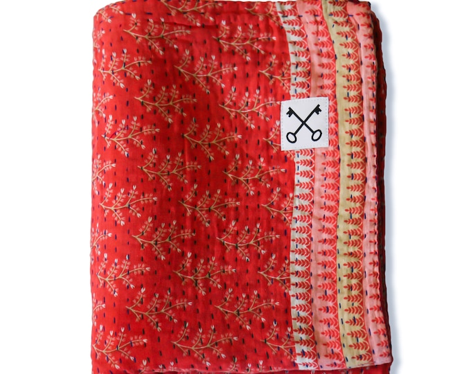 The Sari Quilt - Classic Reds - Handmade by those at risk or affected by human trafficking