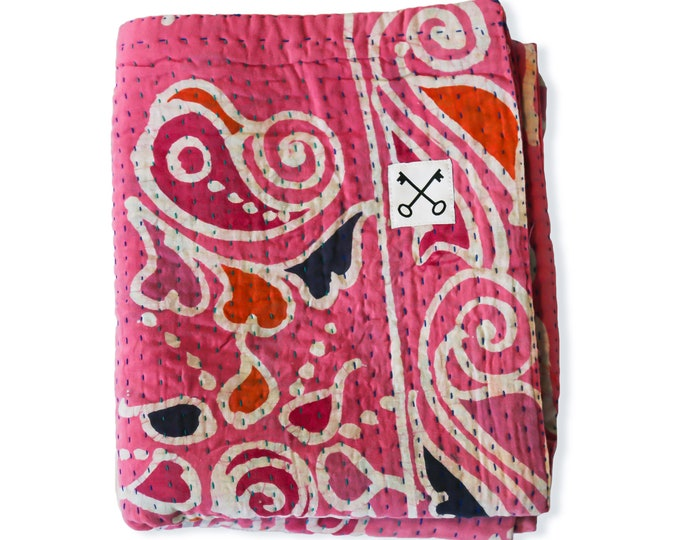 The Sari Quilt - Classic Pinks - Handmade by those at risk or affected by human trafficking