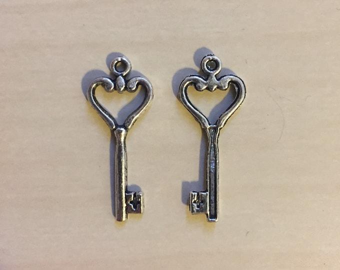 Lot of Mini Pewter Keys with Heart Shape and Crosses  400 gram Bag