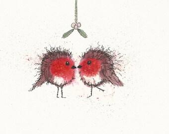 Merry Kissmas Robins An original A4 watercolour by Lesley Ann