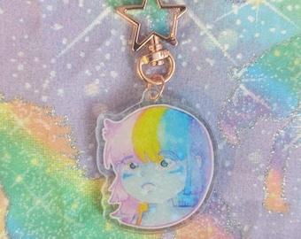 Rainbow Hair Don't Care Holographic Keychain