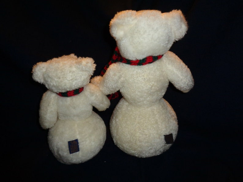 2 Vintage Boyds Bears Snowmen 10 and 13 Red and Green Scarf