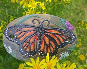 Monarch Butterfly leather hair barrette