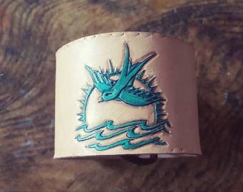 Jack Sparrow Swallow tattoo design leather wristband