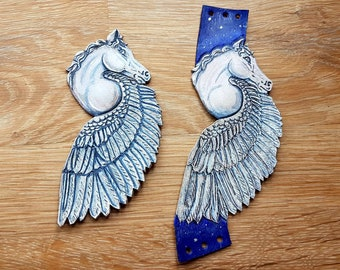 Beautiful Pegasus Winged Horse Leather Wristband or Fridge Magnet.