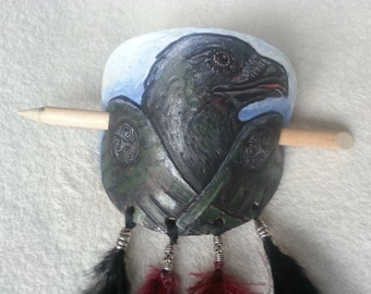 Celtic Morrighan Raven inspired Leather hair barrette with iridescent feathers