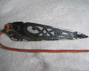 Celtic Crow Morrighan leather wristband