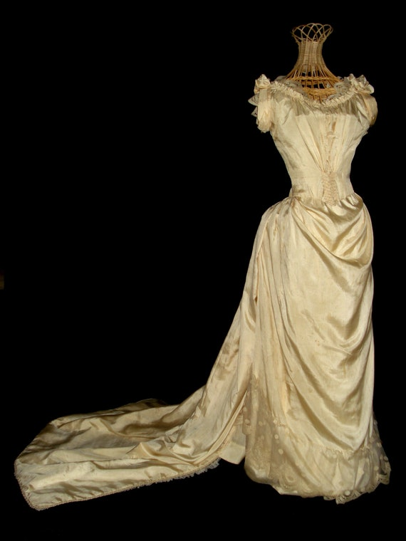 SOLD 1880's Buttery Ivory Silk and Lace Ball Gown