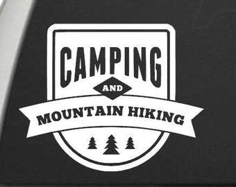 Camping and Mountain Hiking Vinyl Decal - The Great Outdoors - Car Window Decal or Laptop Decal - Choose your Size and Color