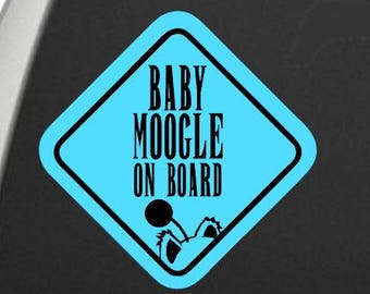 Baby Moogle on Board Decal- Two Color vinyl window decal - car window decal - Moogles on board - Moogle on board - nerdy baby on board sign