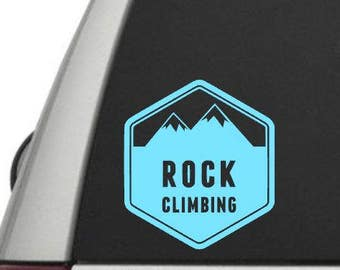 Rock Climbing Vinyl Decal - The Great Outdoors - Car Window Decal or Laptop Decal - Choose your Size and Color