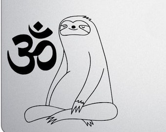 Zen Sloth - Meditating Sloth - Om Symbol - Vinyl Decal / Laptop Decal / Tumbler Decal / Car Window Decal - Choose your colors and size
