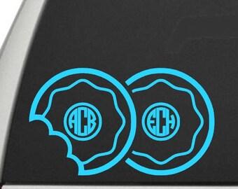 Donut Monograms / Doughnut Monograms - Two Monograms - Pair of Monograms - Monogram Decal - Bestie Monograms