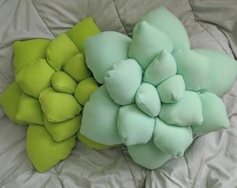 3D Succulent Pillow - Choose your color - Throw Pillow, Succulent Accent Pillow, Cactus Pillow, 3d Cactus Throw Pillow