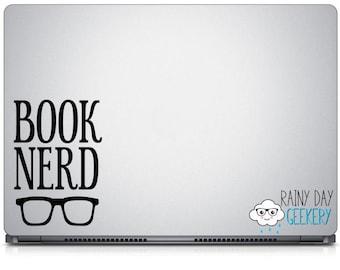 Book Nerd with Glasses Vinyl Decal - Book Nerd Vinyl Decal, Book Nerd Decal, Glasses Decal, Bookish Decal, Book nerd gift, book lover gift