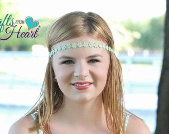 Flower Headband - Mint Green Headband - Mint Green Boho Headband - Mint Green Flower Boho - Boho Headband - Adult Headband - Headbands